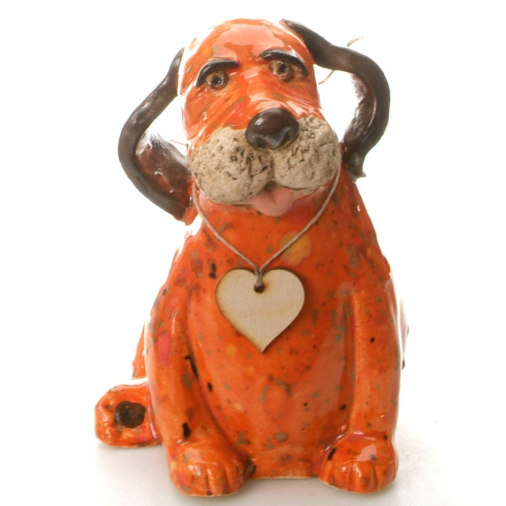 Ceramic Labrador Puppy With Wooden Heart | Ginger