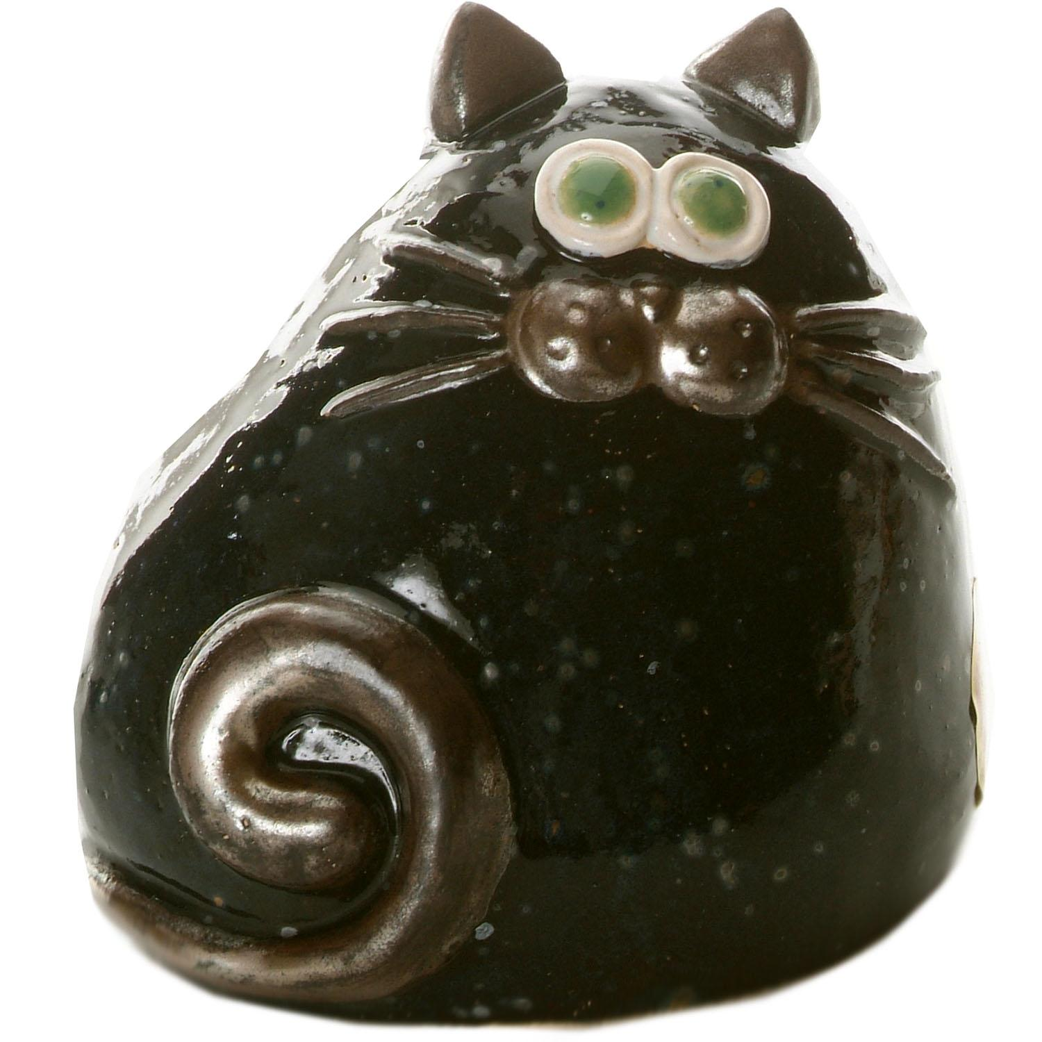 Ceramic Chubby Cat Ornament | Black