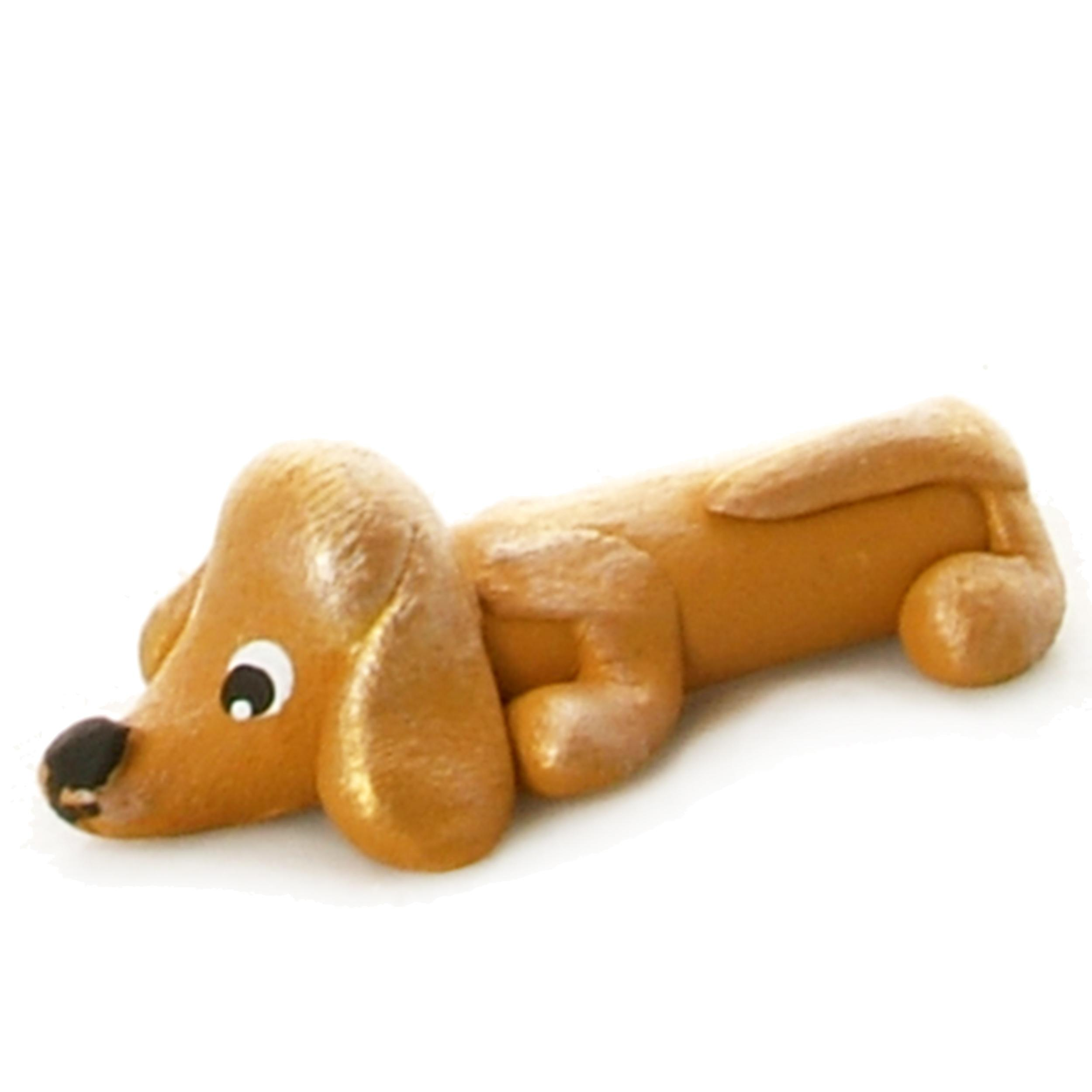 Pet in a Box | Ceramic Animal Gift for Kids | Mustard Dachshund