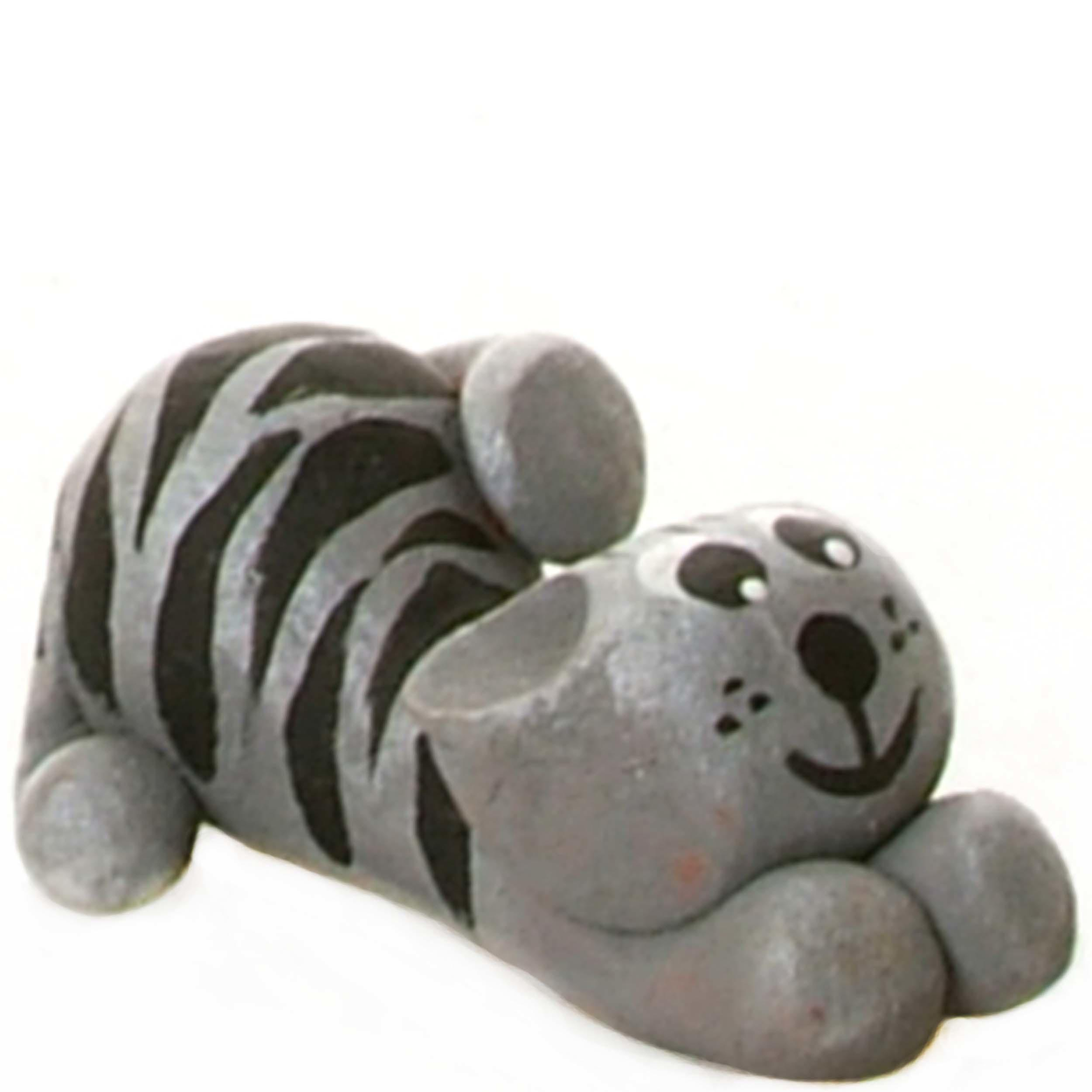 Pet in a Box Ceramic Animal Gift for Kids Grey Tabby Cat