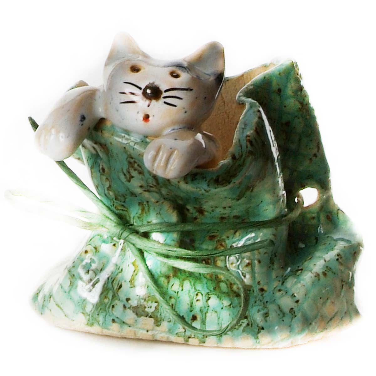 Quirky Cat in a Sack Ornament with Grey Tabby Cat