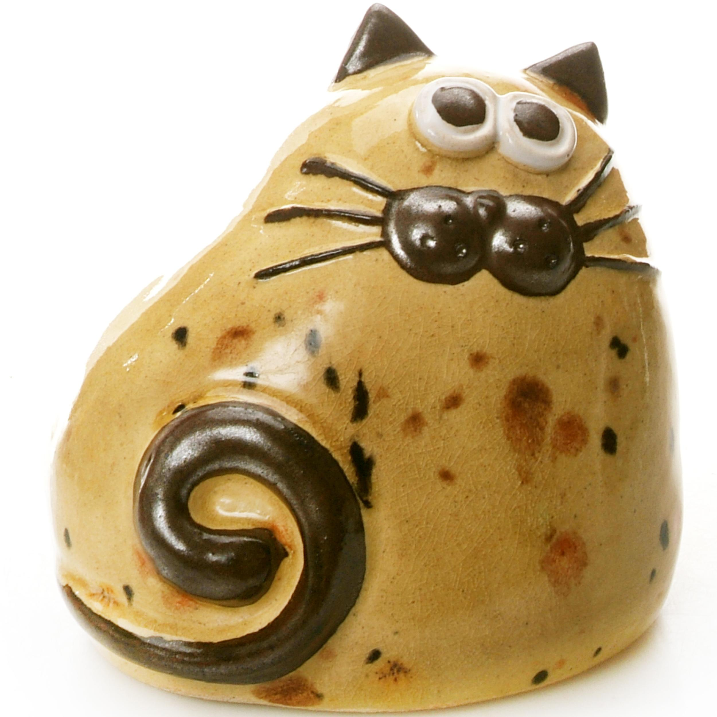 Ceramic Chubby Cat Ornament | Mustard