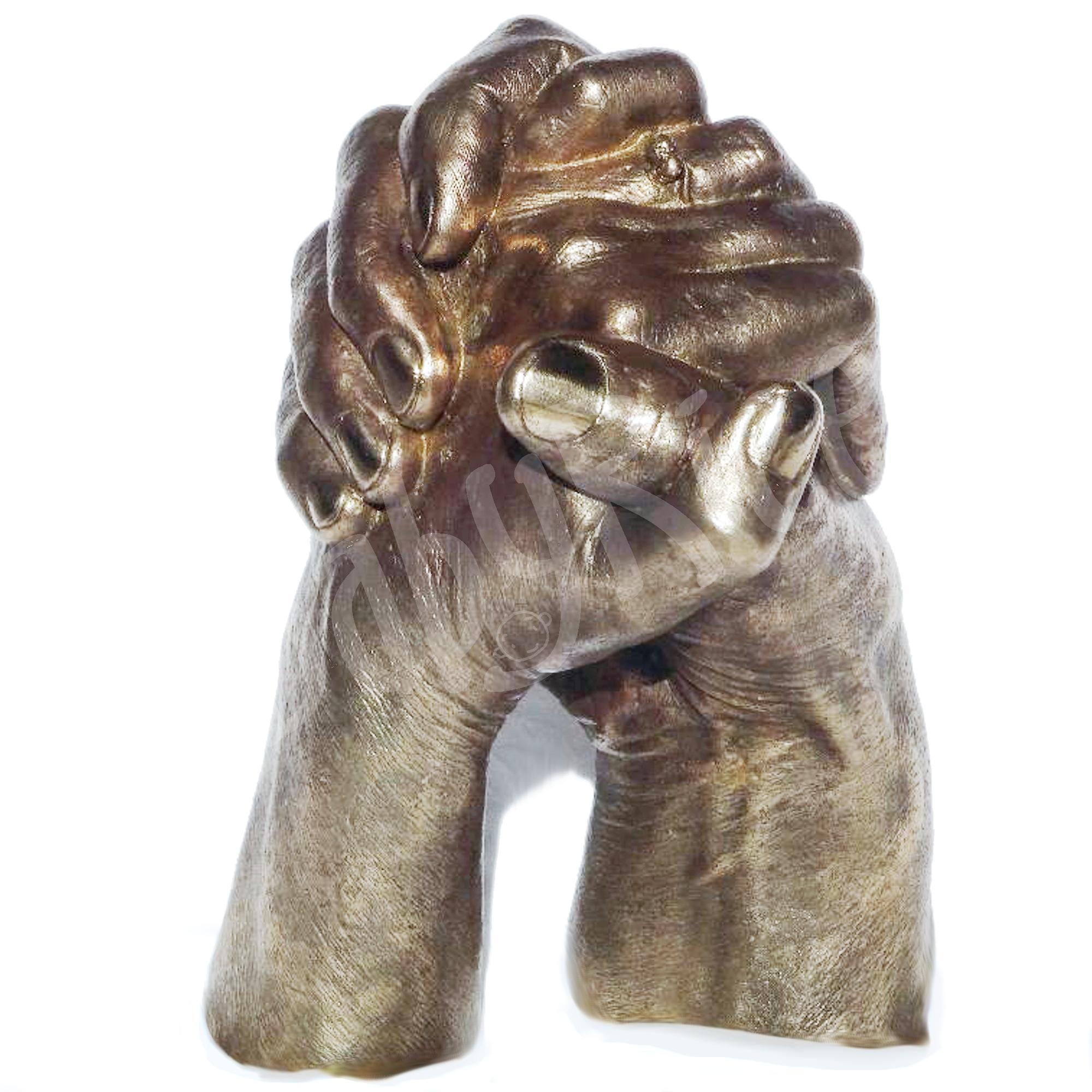 Real Bronze Hand Cast Clasped Hands