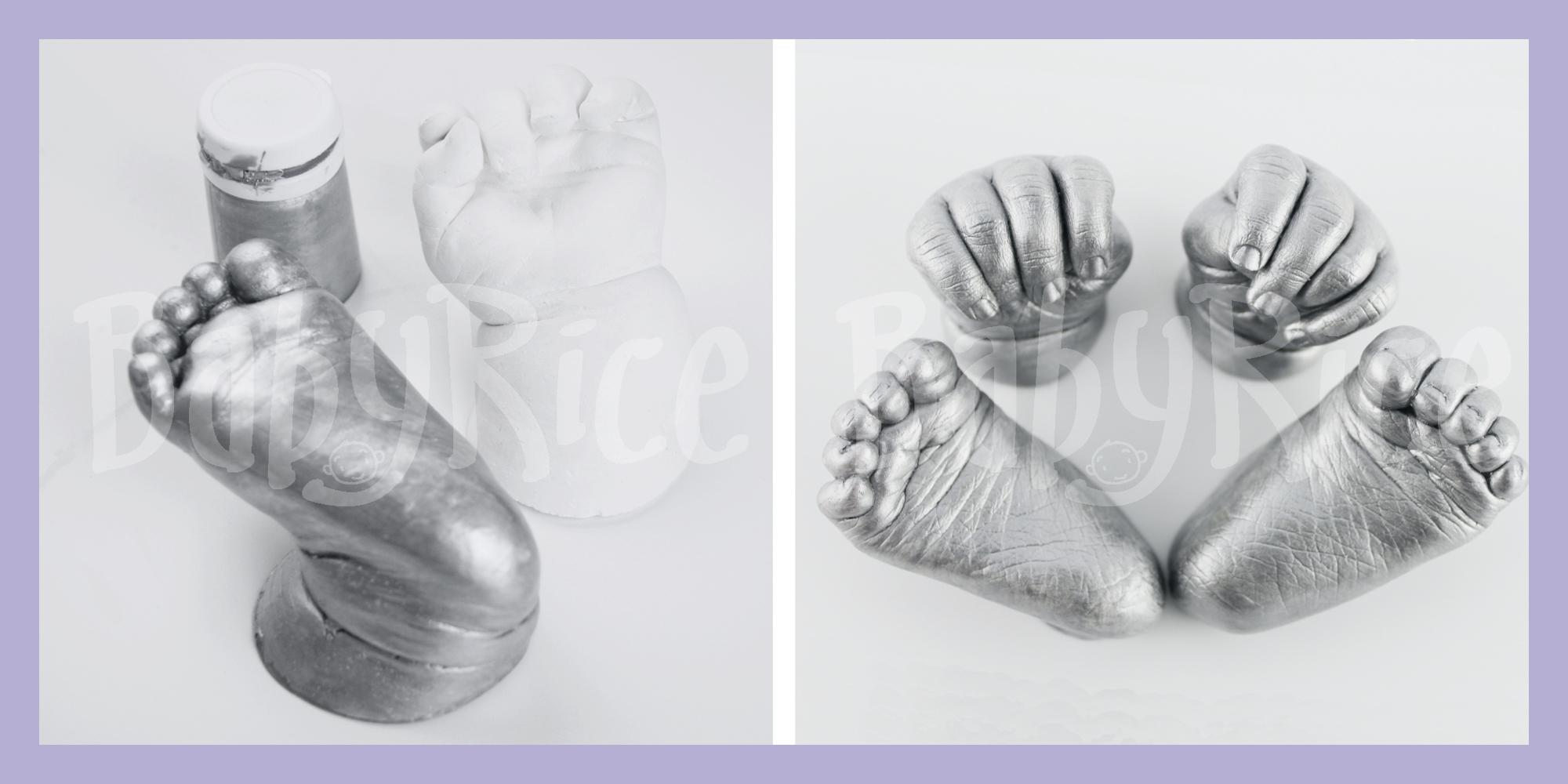 Silver Painted Baby Hand and Foot Casts