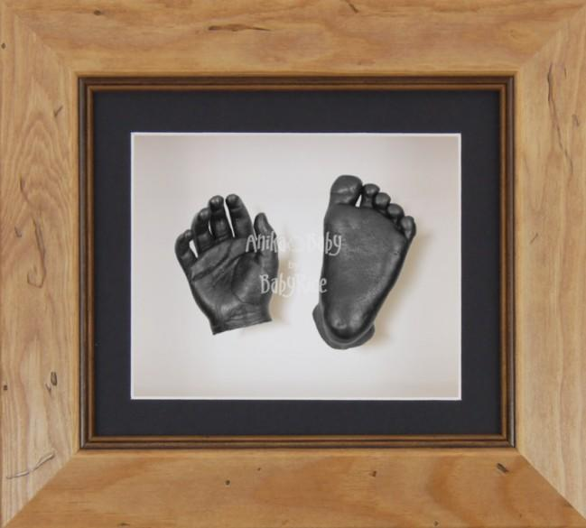 Baby Casting Kit Rustic Frame Black White Display Pewter paint