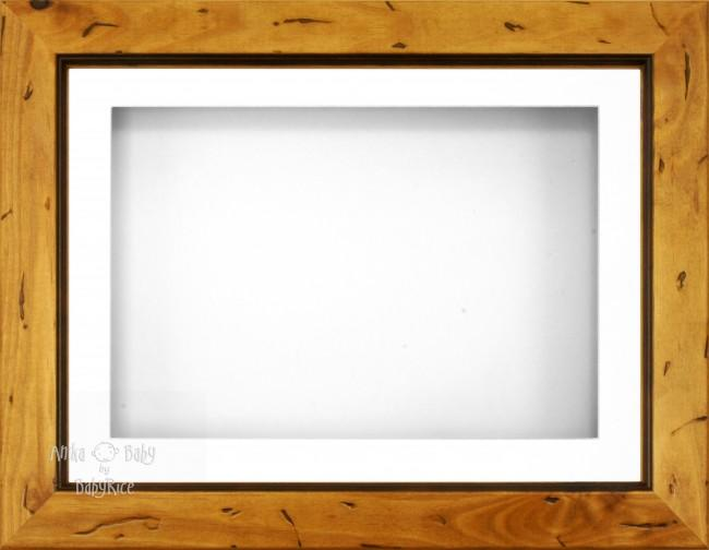 "11.5x8.5"" Rustic Pine Wood 3D Display Frame 1 Hole White Mount White Back"