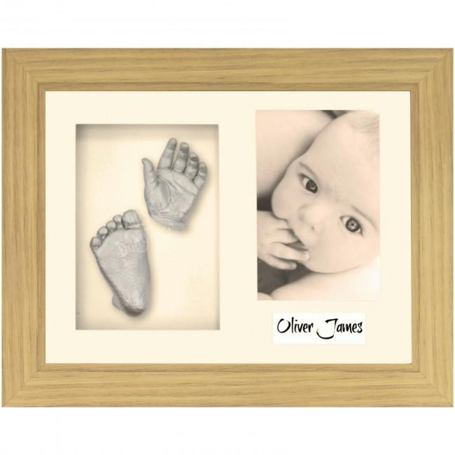 Baby Casting Kit, Oak effect Photo Display Frame, Silver Casts