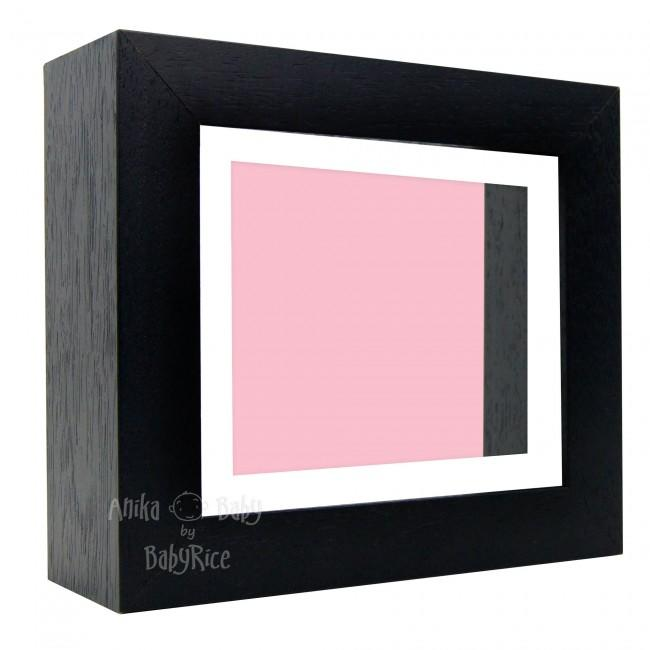 "Deluxe Black Deep Box Frame 6x5"" with White Mount and Pink Backing"