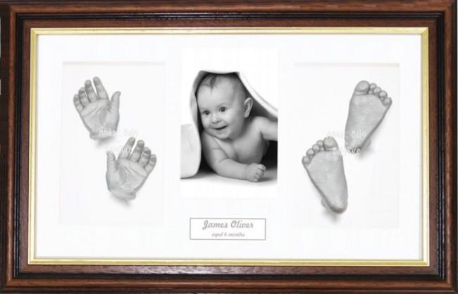 Silver Paint 3D Hand Foot Casting, Large Mahogany Gold Frame