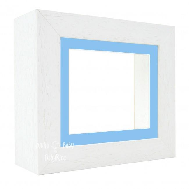 "Deluxe White Deep Box Frame 6x5"" with Blue Mount and White Backing"