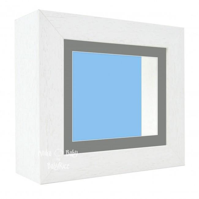 "Deluxe White Deep Box Frame 6x5"" with Grey Mount and Blue Backing"