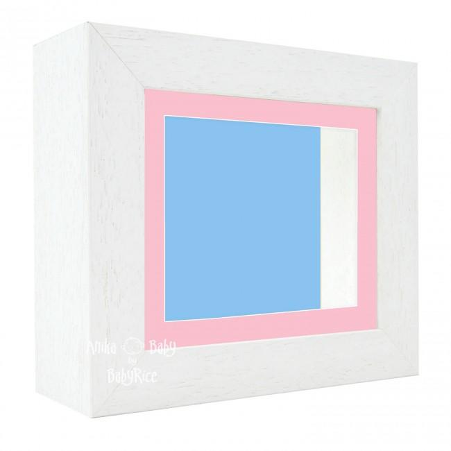 "Deluxe White Deep Box Frame 6x5"" with Pink Mount and Blue Backing"