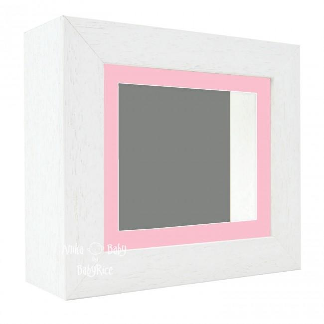 "Deluxe White Deep Box Frame 6x5"" with Pink Mount and Grey Backing"