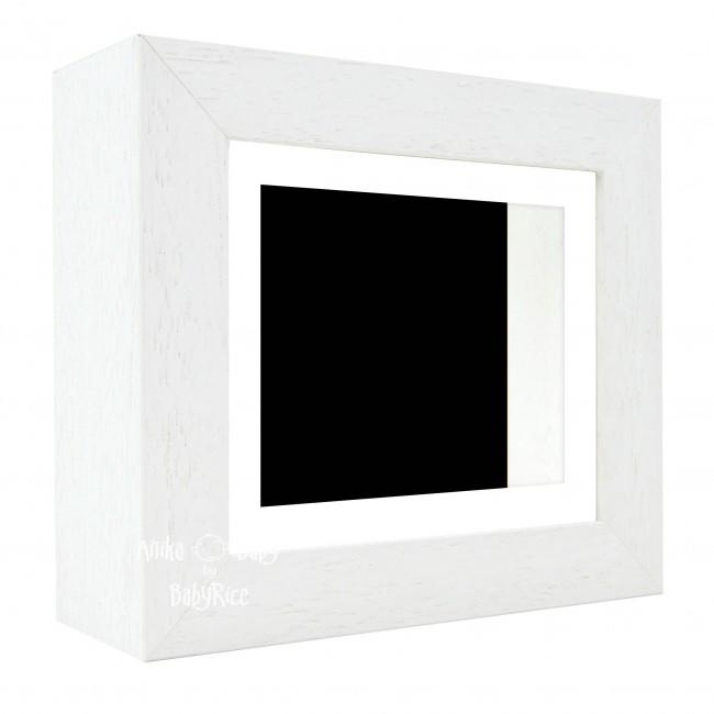 "Deluxe White Deep Box Frame 6x5"" with White Mount and Black Backing"