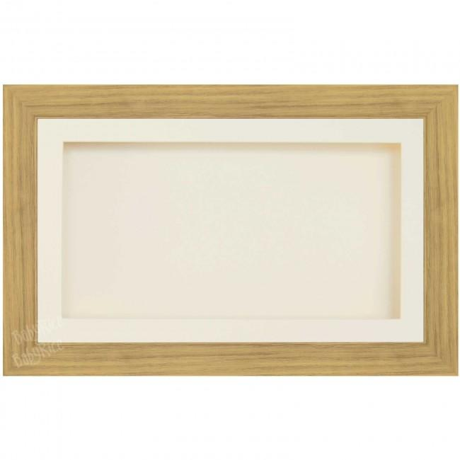 Large Wooden Shadow Box Deep Frame, Oak effect, Cream Mount