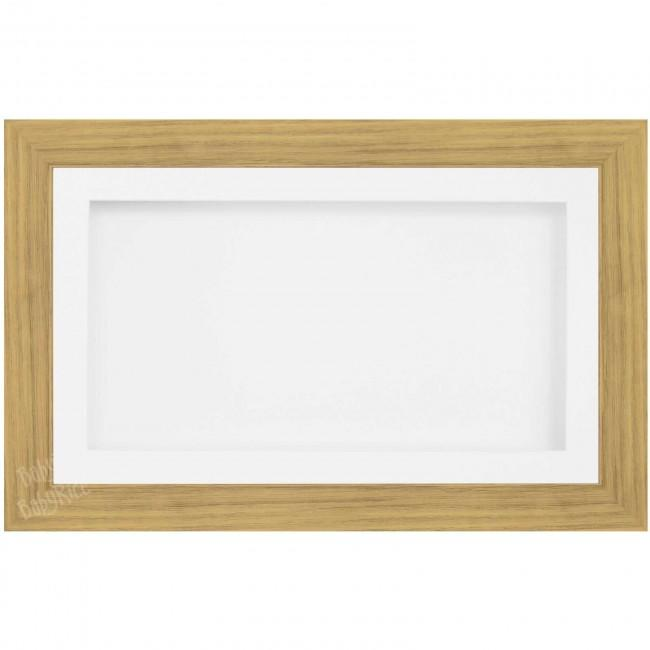 Large Shadow Box Deep Frame, Oak effect, White Mount Inserts