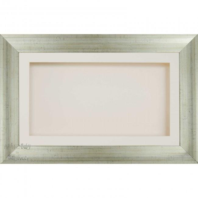 "15x9"" Wooden Shadow Box Deep Frame, Antique Silver effect, Cream"