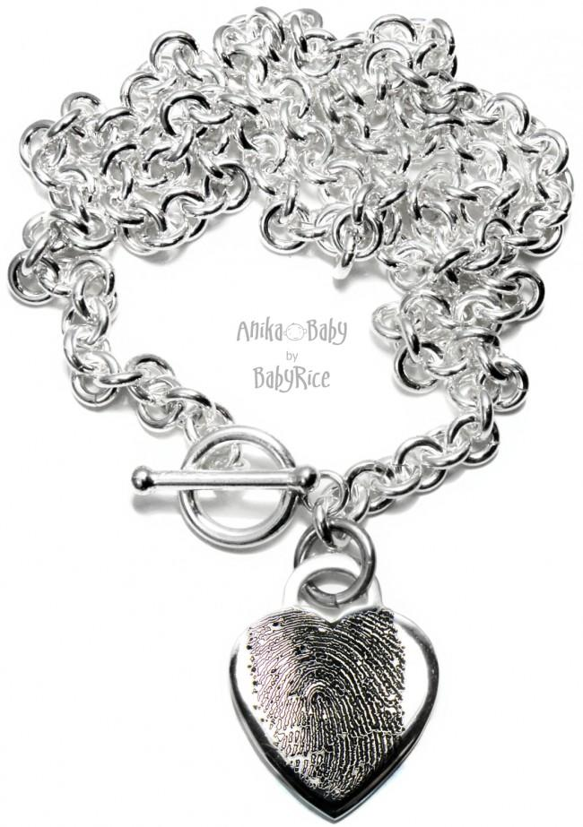 Silver Heart Prints Pendant Chunky Necklace Oxi