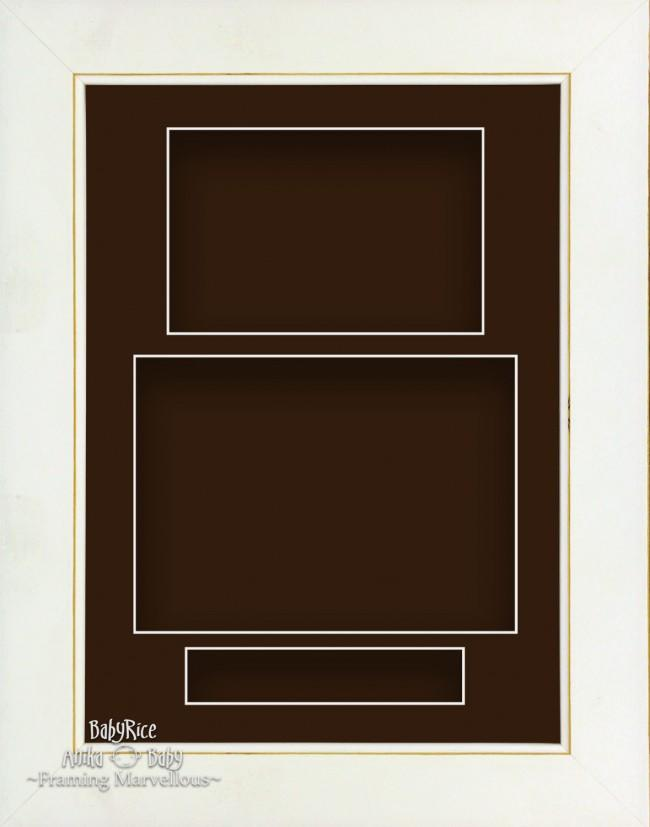 "11.5x8.5"" White Wash 3D Deep Shadow Box Display Frame Brown Portrait"