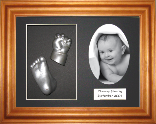 Baby Casting Kit, Honey Pine Frame, Black Display, Silver