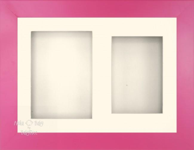 "11.5x8.5"" Pink Finish 3D Display Frame 2 Hole Cream Mount Cream Back"