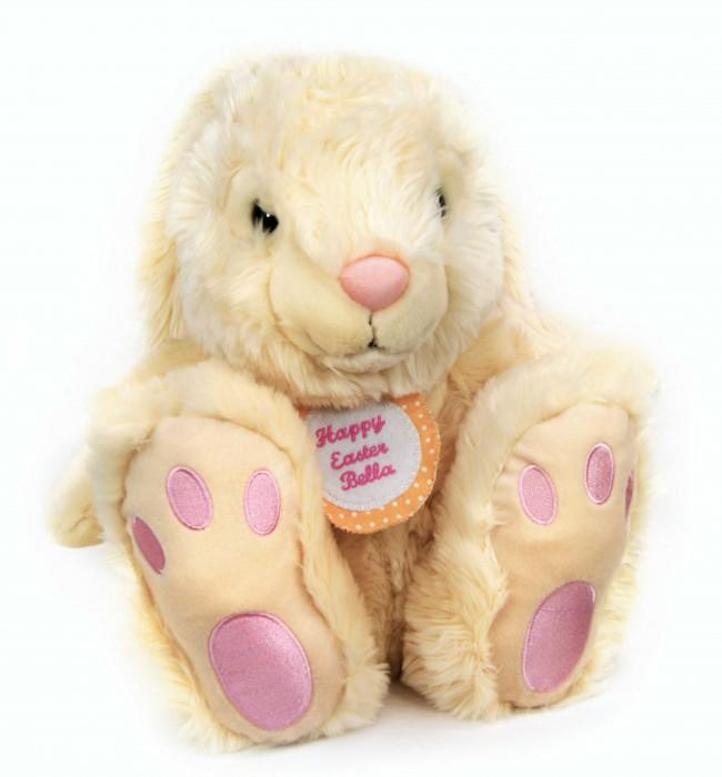 Personalised Yellow Spot Badge Cream Rabbit 35cm