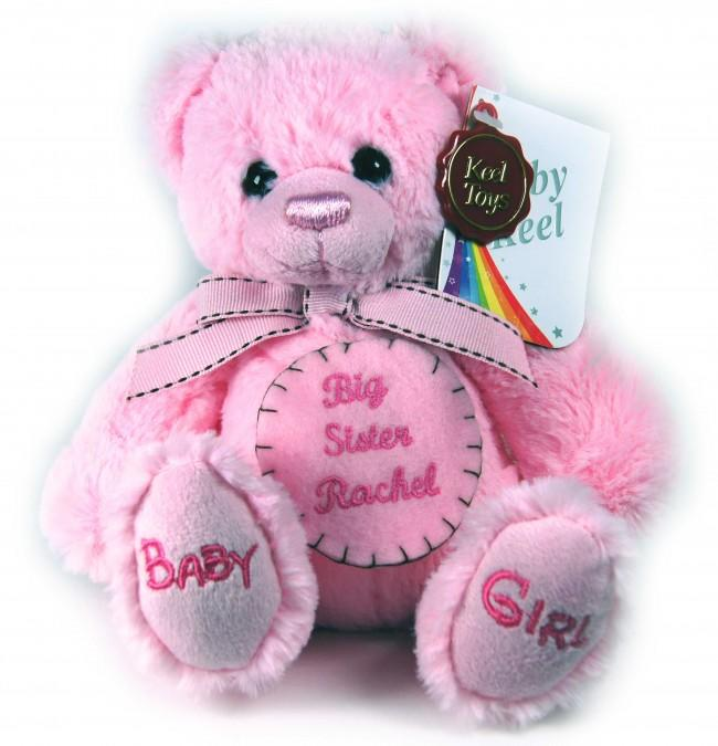 Personalised Felt Badge Pink Teddy Bear Small 18cm