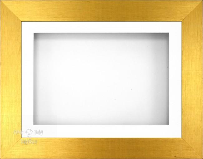 "11.5x8.5"" Brushed Gold 3D Display Frame 1 Hole White Mount White Back"