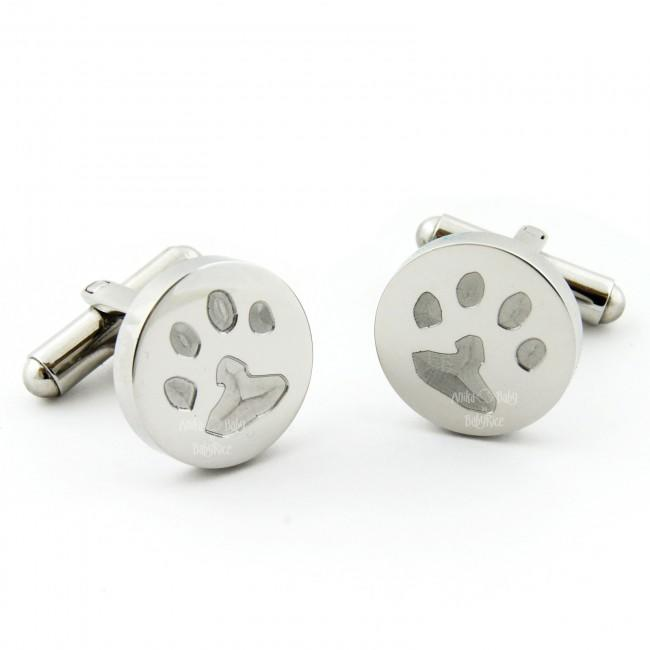 Pet Paw Prints in Steel Circle Cufflinks for Men Personalised Gift