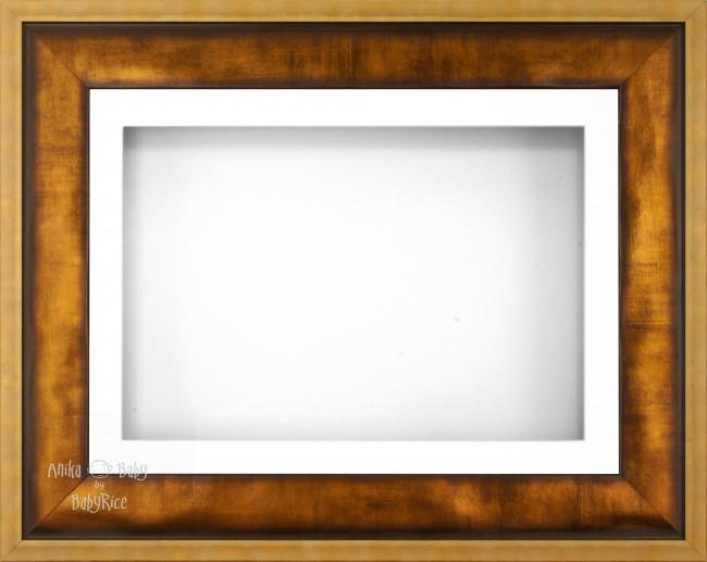 "12x9"" Urban Gold 3D Display Frame 1 Hole White Mount White Back"