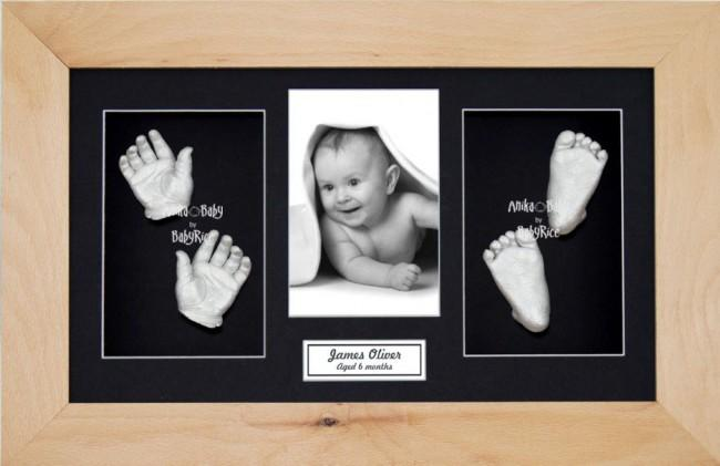 Baby Casting Kit Christening Gift, Beech Wooden Frame, Silver Casts