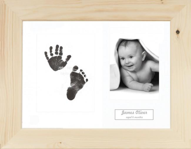 New Baby Gift Inkless Prints, Hand & Footprint Kit, Natural Pine Frame