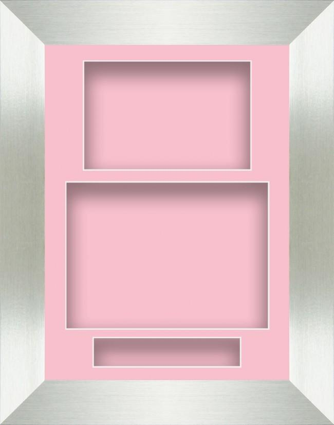 11.5x8.5 Silver Deep Box Display Frame Pink Portrait