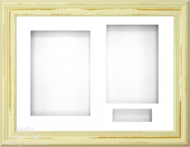 Shabby Chic effect Ivory Cream 3D Display Box Frame White