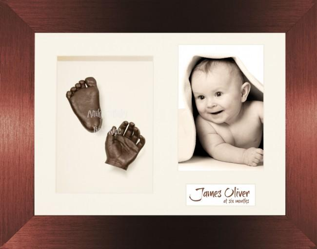 Newborn Baby Gift 3D Casting Kit, Bronze Frame Hands Feet Casts