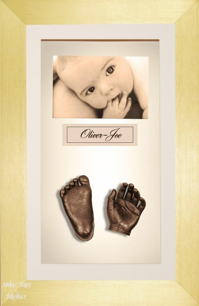 Large or Twins Baby Casting Kit / Brushed Gold Frame / Bronze Casts