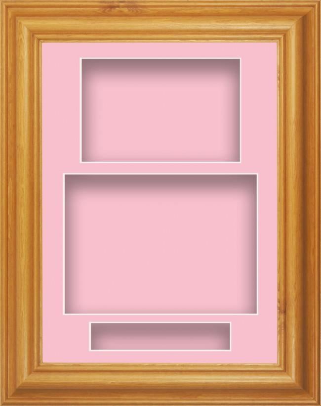 12x9 Honey Pine Wood Deep Box Display Frame Pink Portrait