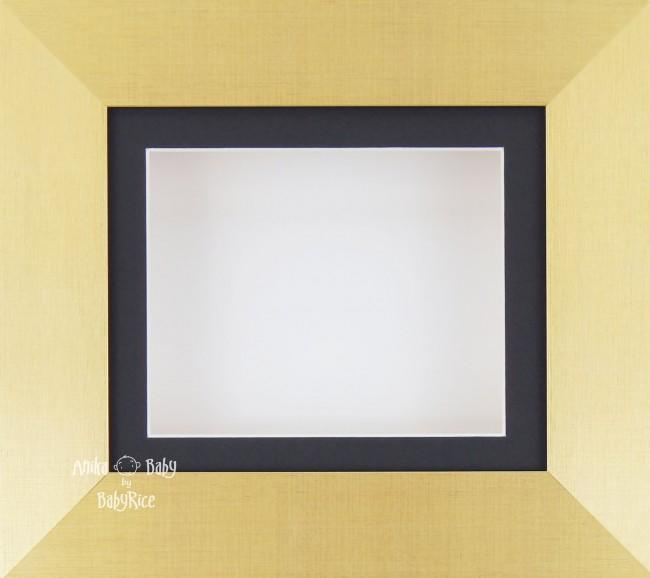 "6x5"" Brushed Gold display frame / Black mount & White Backing"