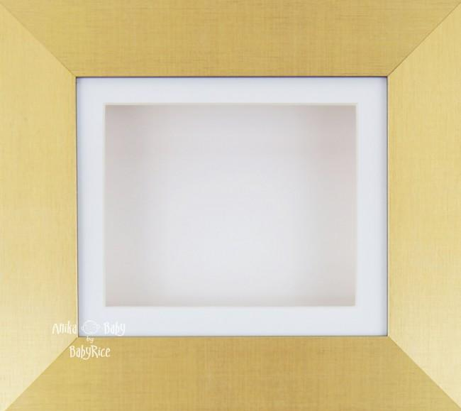 "6x5"" Brushed Gold display frame / White mount & Backing"