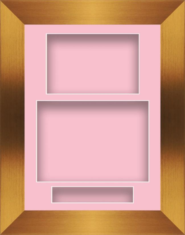11.5x8.5 Bronze Deep Box Display Frame Pink Portrait