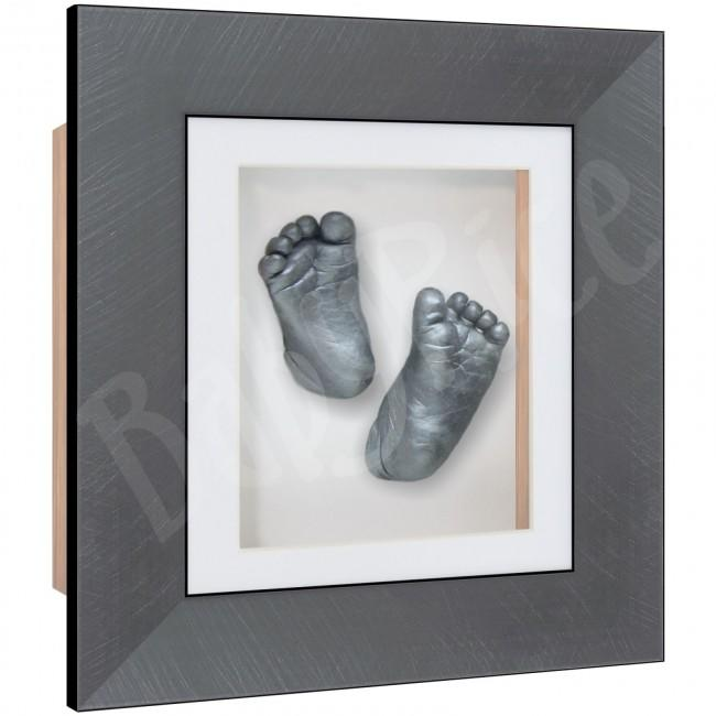 Baby Casting Kit Brushed Pewter Frame White Display Pewter paint