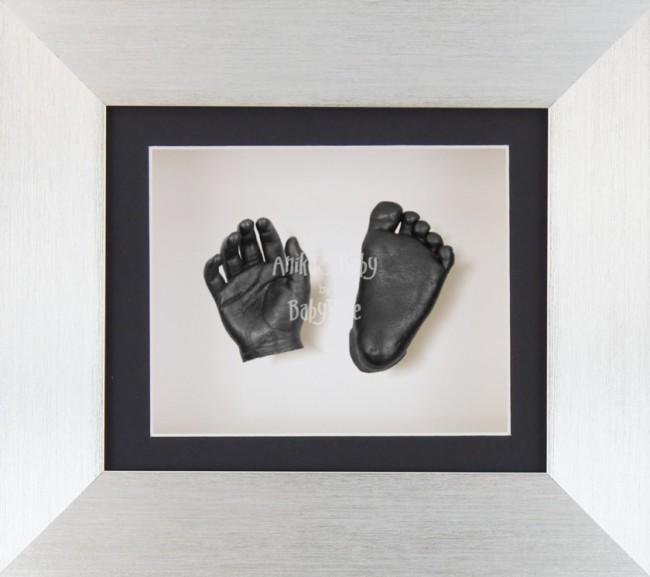 Baby Casting Kit Brushed Silver Frame Black White Display Pewter paint