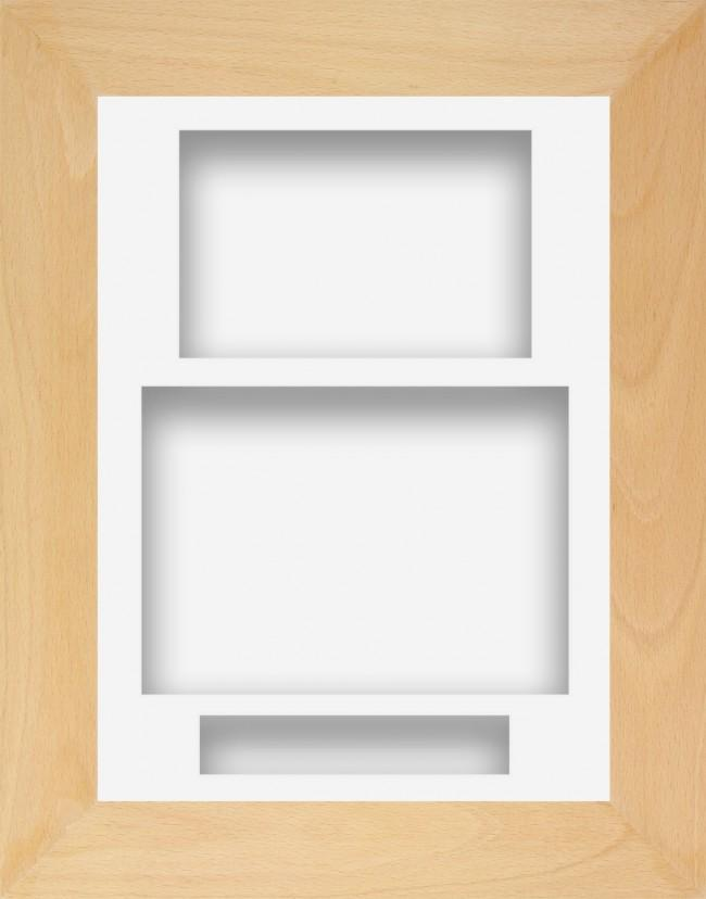 11.5x8.5 Beech Wooden Deep Box Display Frame White Portrait