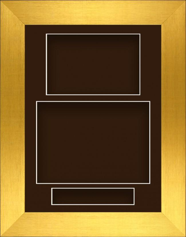 11.5x8.5 Gold Deep Box Display Frame Brown Portrait