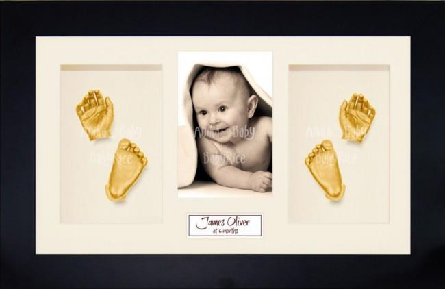 Twin Babies, Older Baby Child 3D Baby Casting Kit, Black Frame, Gold