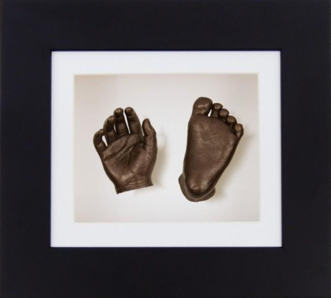 "Baby Casting Kit 6x5"" Black Frame White Display Bronze paint"