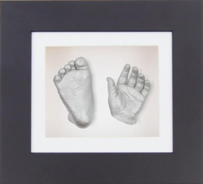 "Baby Casting Kit 6x5"" Black Frame White Display Silver paint"