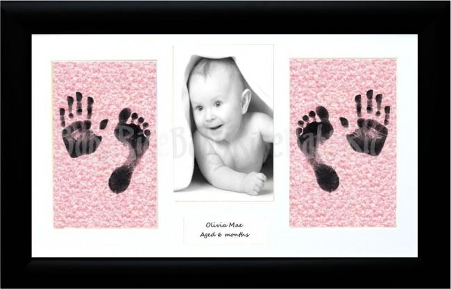 Baby Pink Handprint Footprint Kit XL Black Frame, Inkless Wipe Kit