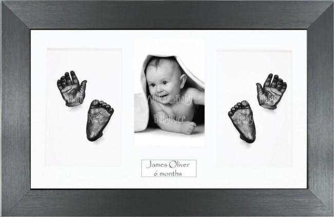 Twin Babies Large Baby Gift 3D Hand Foot Pewter Casting and Frame