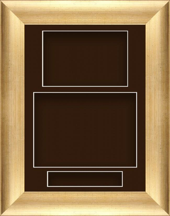 "11.5x8.5"" Antique Gold Box Display Frame Brown Portrait"